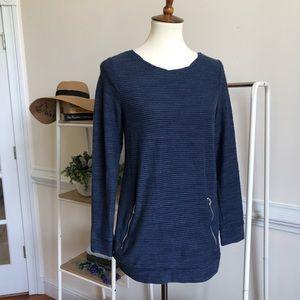 LOU & GREY blue zip long sleeve casual lounge top